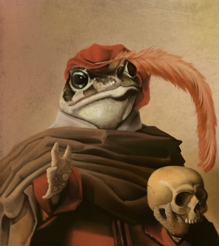 Toad Holding a Skull